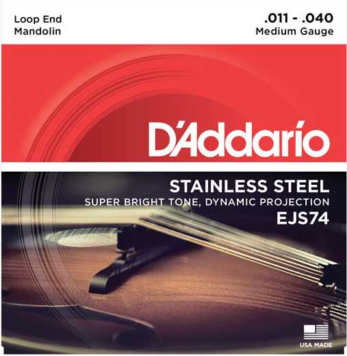 D'Addario Stainless Steel Medium Gauge Mandolin Strings EJS74 Product